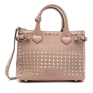 Burberry Calfskin Studded Small Banner Bag