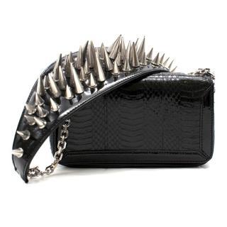 Christian Louboutin Black Leather Artemis Spike Stud Python Bag