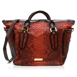 Burberry Red Large Python Travel Bag