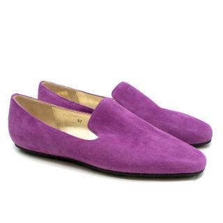 Jimmy Choo Purple Suede Loafers