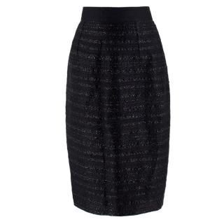 Giambattista Valli High-waisted Black Tweed Skirt
