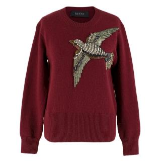 Gucci Burgundy Bird Embellished Knit Wool Sweater