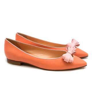 Gina Coral Bow Embellished Ballet Flats