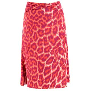 Just Cavalli Pink and Orange Leopard Skirt