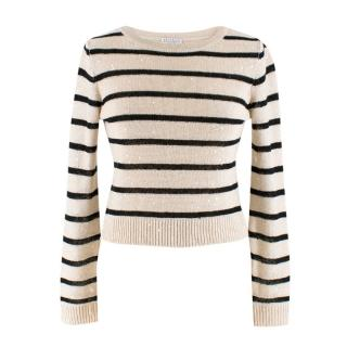 Brunello Cucinelli Striped Embellished Linen Knit Top