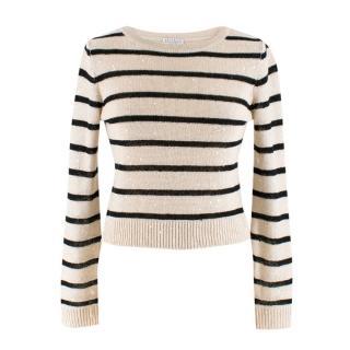 Brunello Cucinelli Striped Embellished Linen Knit Top