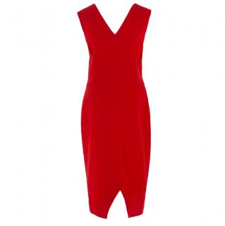 Victoria Beckham Red V-Neck V-Hem Sleeveless Dress