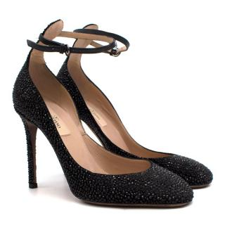 Valentino Garavani Black Crystal Embellished Pumps