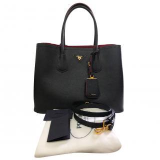Prada Black Saffiano Leather Double Handle Tote