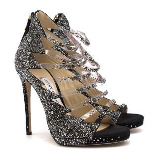 Jimmy Choo Black Suede Crystal Embellished Karol Sandals