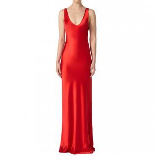 Galvan Red Silk Valletta Gown