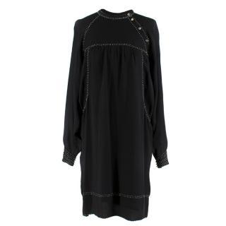 Isabel Marant Black Studded Silk Dress