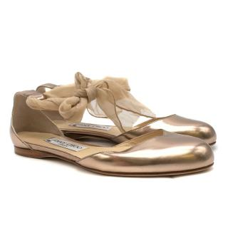 Jimmy Choo Gold Ballet Flats with Silk Ankle Tie