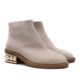 Nicholas Kirkwood Light Grey Suede Casati Pearl Ankle Boots