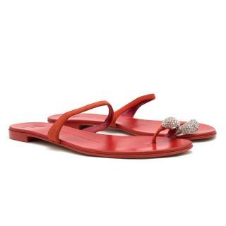 Giuseppe Zanotti Red Leather Crystal Toe Post Flats