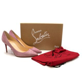 Christian Louboutin Mauve Suede Decoullete 85mm Pumps