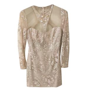 Philip Armstrong Bespoke Crystal Encrusted Sheer Cut-Out Mini Dress