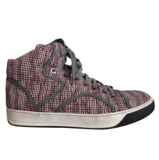 Lanvin Red & Blue Gingham High Top Trainers