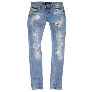 Philipp Plein distressed blue jeans