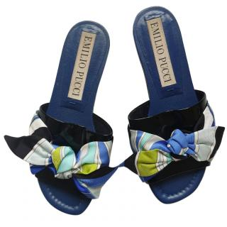 Emilio Pucci Printed Bow Top Sandals