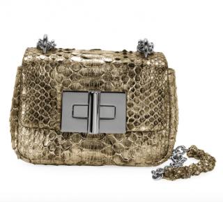Tom Ford Natalia Laminated Python Mini Shoulder Bag