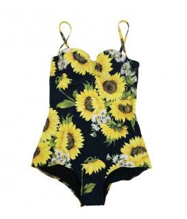 Dolce & Gabbana Yellow Sunflower Print Swimsuit