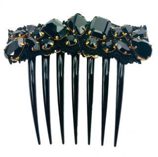 Dolce & Gabbana black crystal embellished hair comb