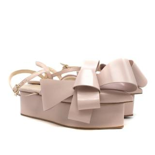Delpozo Pale Pink Bow Wedge Sandals