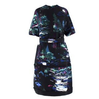Balenciaga Black Forest-Print Belted Dress