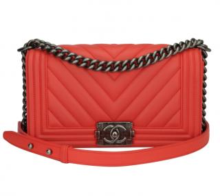 Chanel Red Old Medium Chevron Boy Bag