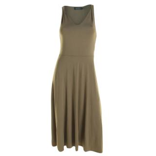 Lauren Ralph Lauren Khaki Sleeveless Midi Dress
