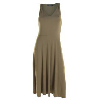 Lauren Ralph Lauren Khaki Sleeveless Midi Dress