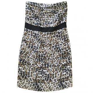 Sandro Leopard Print Strapless Mini Dress