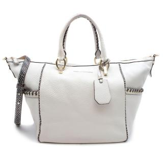 Diane Von Furstenberg White Leather Snake Print Trim Tote Bag