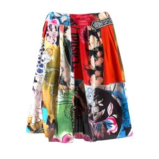 Galliano Floral Multi-Coloured Print Silk Skirt