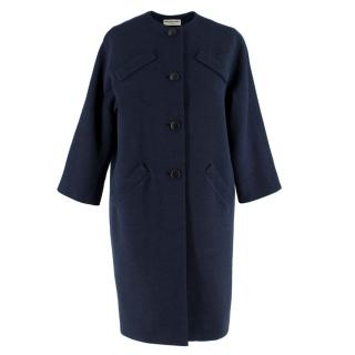 Balenciaga Navy Blue Wool Single-Breasted Coat