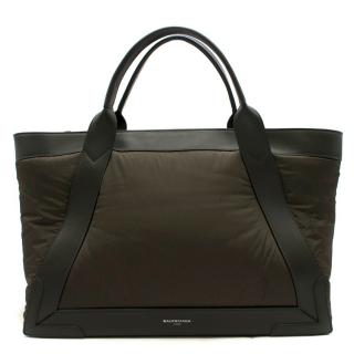 Balenciaga Khaki Cabas Nylon And Leather Tote