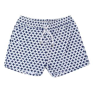 Frescobol Carioca White and Blue Swim Trunks