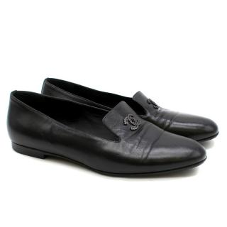 Chanel Black Leather 'CC' Slip-On Loafers