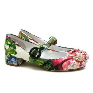 Dolce& Gabbana Embellished Floral Printed Pumps
