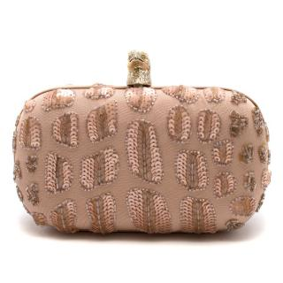 Emilio Pucci Pink Sequin Embellished Hawk Clasp Silk Box Clutch