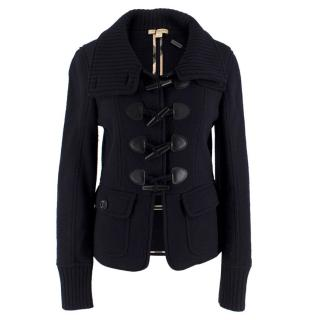 Burberry Brit Navy Blue Wool Toggle-Buttoned Knit Jacket