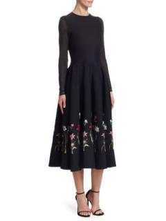 Oscar De La Renta Embroidered Midi Dress W/ Sheer Sleeves