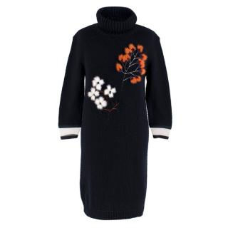 Fendi Navy Cashmere Floral Feather Embroidered Jumper Dress