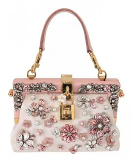 Dolce & Gabbana Pink Crystal Embellished Top Handle Bag