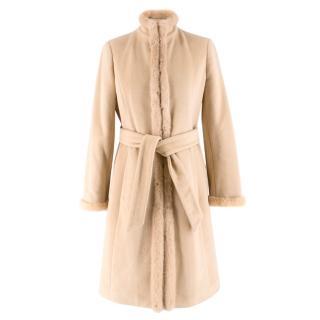 Valentino Cashmere & Angora Wool Blend Mink Fur Trim High Neck Coat