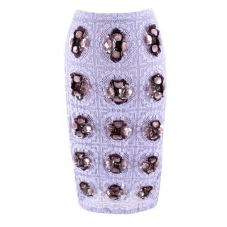 Burberry Prorsum Violet Lace Crystal Embellished Skirt