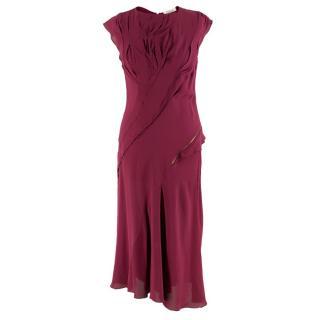 Nina Ricci Maroon Pintucked Asymmetric Zip Detail Silk Dress