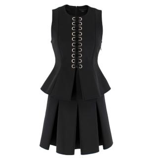 Alexander Wang Black Lace-Up Peplum Top & Pleated Skirt