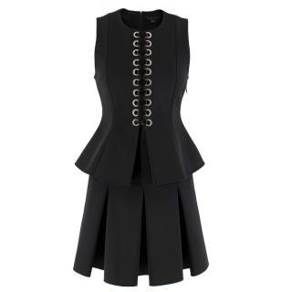 Alexander Wang Black Lace-Up Peplum Top & Pleated Skirt